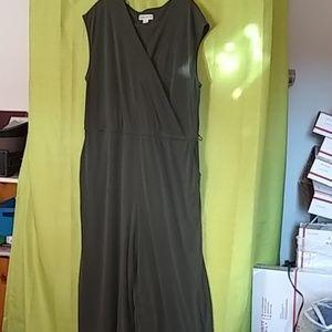 Olive jumpsuit one-piece. 2X plus size.